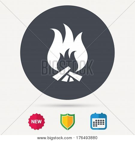 Fire icon. Blazing bonfire flame symbol. Calendar, shield protection and new tag signs. Colored flat web icons. Vector