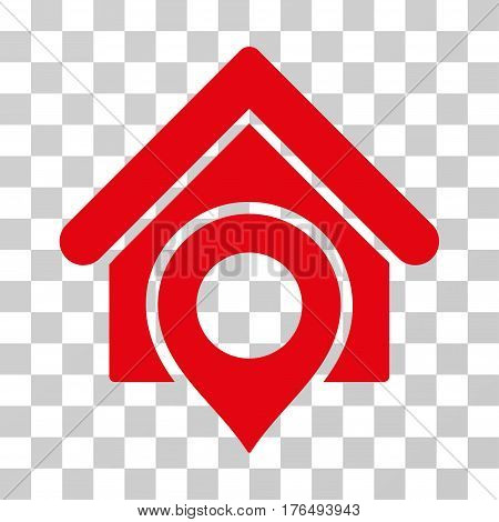 Realty Location icon. Vector illustration style is flat iconic symbol, red color, transparent background. Designed for web and software interfaces.