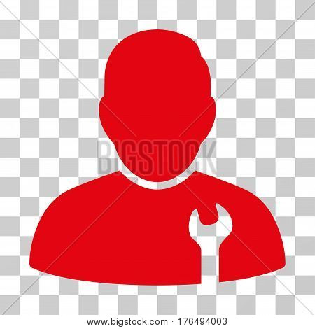 Serviceman icon. Vector illustration style is flat iconic symbol, red color, transparent background. Designed for web and software interfaces.
