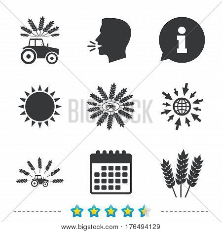 Tractor icons. Wreath of Wheat corn signs. Agricultural industry transport symbols. Information, go to web and calendar icons. Sun and loud speak symbol. Vector
