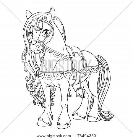 Cute Horse Harnessed To A Saddle Outlined Picture For Coloring B