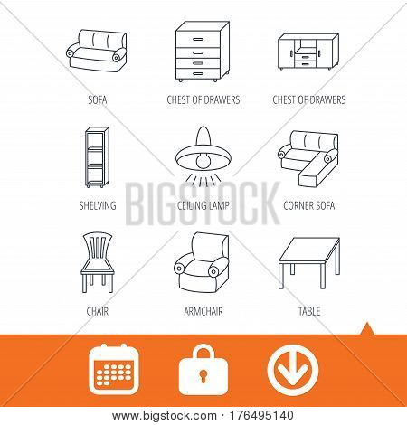 Corner sofa, table and armchair icons. Chair, ceiling lamp and chest of drawers linear signs. Shelving, furniture flat line icons. Download arrow, locker and calendar web icons. Vector