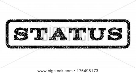 Status watermark stamp. Text tag inside rounded rectangle with grunge design style. Rubber seal stamp with dust texture. Vector black ink imprint on a white background.