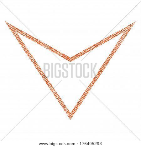 Arrowhead Down vector textured icon for overlay watermark stamps. Fabric orange vectorized texture. Symbol with unclean design. Rubber seal stamp with fiber textile structure.