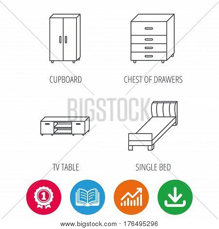 Single bed, TV table and cupboard icons. Chest of drawers linear sign. Award medal, growth chart and opened book web icons. Download arrow. Vector
