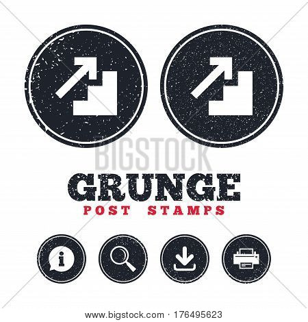 Grunge post stamps. Upstairs icon. Up arrow sign. Information, download and printer signs. Aged texture web buttons. Vector