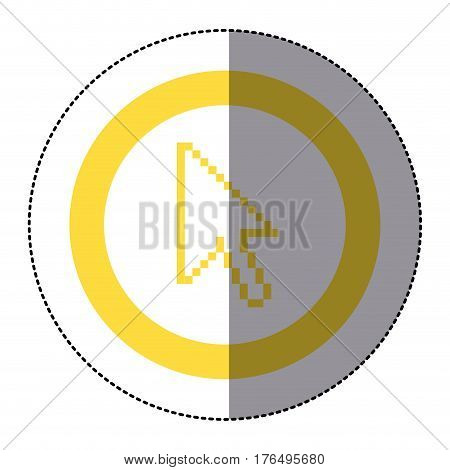 sticker yellow circular frame with pixelated cursor arrow vector illustration