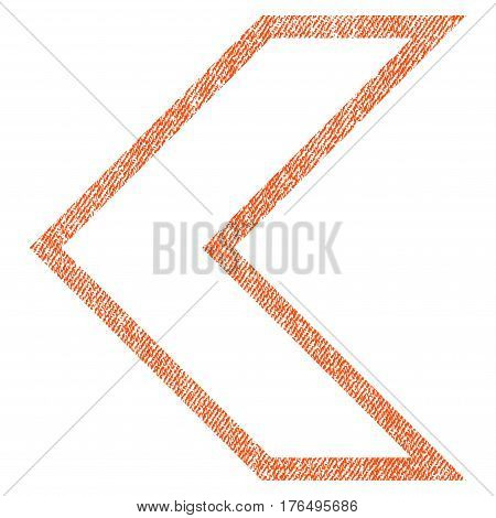 Arrowhead Left vector textured icon for overlay watermark stamps. Fabric orange vectorized texture. Symbol with scratched design. Rubber seal stamp with fiber textile structure.