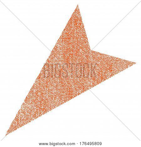 Arrowhead Left-Down vector textured icon for overlay watermark stamps. Fabric orange vectorized texture. Symbol with scratched design. Rubber seal stamp with fiber textile structure.