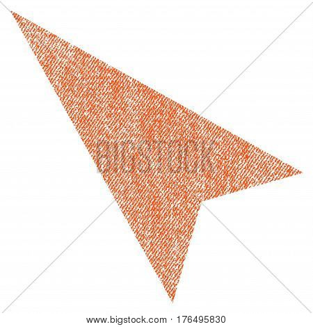 Arrowhead Left-Up vector textured icon for overlay watermark stamps. Fabric orange vectorized texture. Symbol with dirty design. Rubber seal stamp with fiber textile structure.