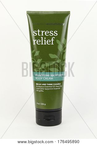 Spencer Wisconsin March15 2017 Tube of Bath & Body Works Stress Relief Body Cream Bath & Body Works is an American based company founded in 1990