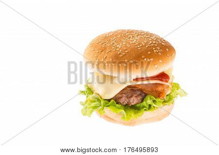 burger with cheese ham lettuce mayonnaise and ketchup against white background