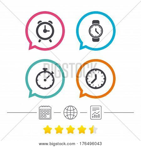 Mechanical clock time icons. Stopwatch timer symbol. Wake up alarm sign. Calendar, internet globe and report linear icons. Star vote ranking. Vector