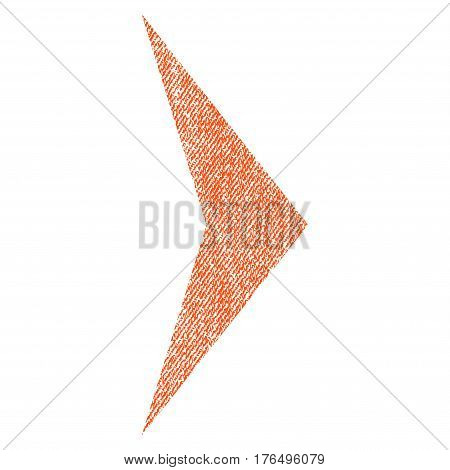 Arrowhead Right vector textured icon for overlay watermark stamps. Fabric orange vectorized texture. Symbol with dust design. Rubber seal stamp with fiber textile structure.