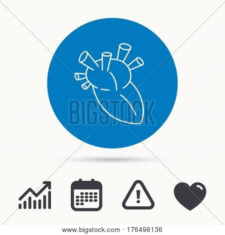 Heart icon. Human organ sign. Surgical transplantation symbol. Calendar, attention sign and growth chart. Button with web icon. Vector