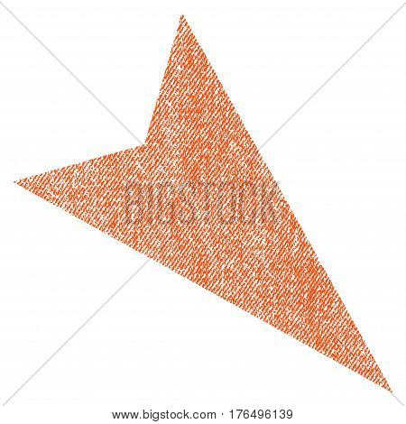 Arrowhead Right-Down vector textured icon for overlay watermark stamps. Fabric orange vectorized texture. Symbol with scratched design. Rubber seal stamp with fiber textile structure.