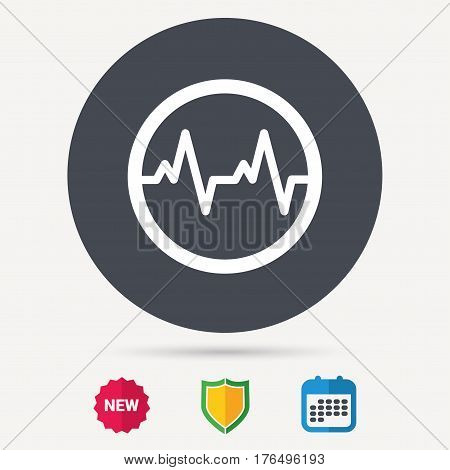 Heartbeat icon. Cardiology symbol. Medical pressure sign. Calendar, shield protection and new tag signs. Colored flat web icons. Vector