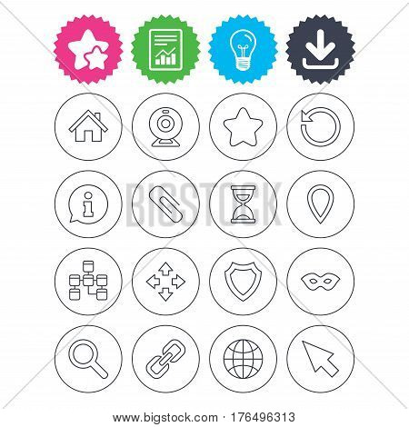 Download, light bulb and report signs. Web elements icons. Paperclip, video camera and information speech bubble. Database, anonymous mask and secure shield. Best quality star symbol. Flat buttons