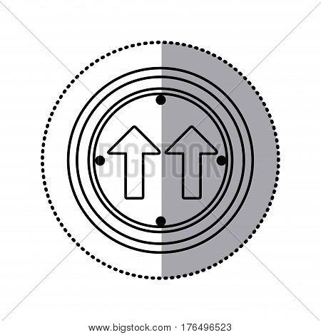 sticker silhouette circular frame same direction arrow road traffic sign vector illustration