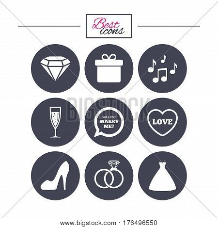 Wedding, engagement icons. Rings, gift box and brilliant signs. Dress, shoes and musical notes symbols. Classic simple flat icons. Vector
