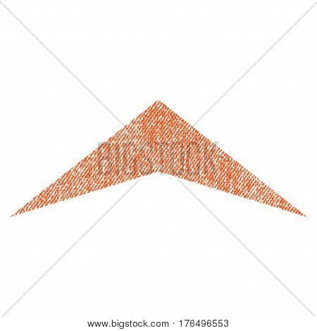 Arrowhead Up vector textured icon for overlay watermark stamps. Fabric orange vectorized texture. Symbol with dirty design. Rubber seal stamp with fiber textile structure.
