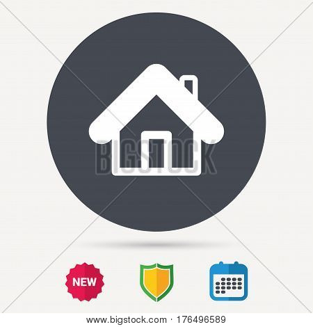 Home icon. House building symbol. Real estate construction. Calendar, shield protection and new tag signs. Colored flat web icons. Vector