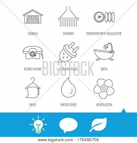 Ventilation, heat radiator and electric plug. Retro phone, shower and garage linear signs. Water drop, bath towel icons. Light bulb, speech bubble and leaf web icons. Vector