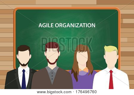 Agile organization white text on green chalk board illustration with four people standing in front of the chalk board vector