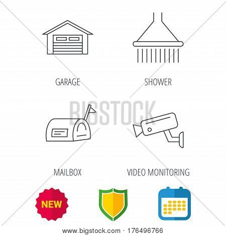 Mailbox, video monitoring and garage icons. Shower linear sign. Shield protection, calendar and new tag web icons. Vector