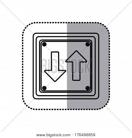 sticker silhouette square shape frame two way traffic sign vector illustration