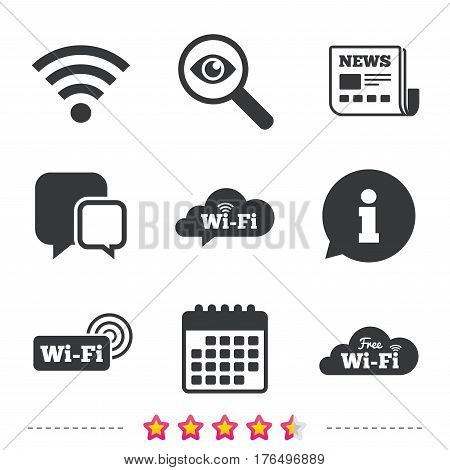 Free Wifi Wireless Network cloud speech bubble icons. Wi-fi zone sign symbols. Newspaper, information and calendar icons. Investigate magnifier, chat symbol. Vector