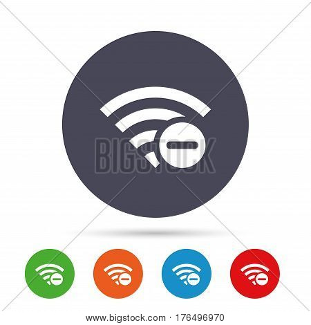 Wifi minus sign. Delete Wi-fi symbol. Wireless Network icon. Wifi zone. Round colourful buttons with flat icons. Vector