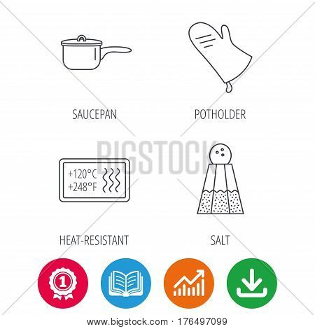 Saucepan, potholder and salt icons. Heat-resistant linear sign. Award medal, growth chart and opened book web icons. Download arrow. Vector