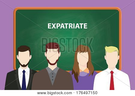 expatriate white text on green chalk board illustration with four people standing in front of the chalk board vector