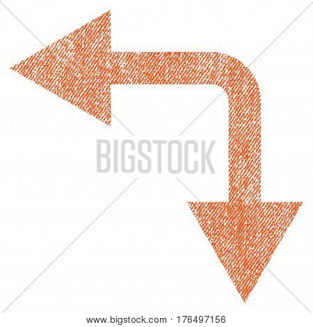 Bifurcation Arrow Left Down vector textured icon for overlay watermark stamps. Fabric orange vectorized texture. Symbol with unclean design. Rubber seal stamp with fiber textile structure.