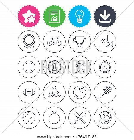 Download, light bulb and report signs. Winners and sport icons. Winner cup, medal award and first place emblem. Bike, playing card with dice and runner. Vector