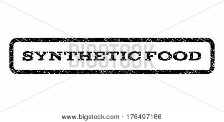 Synthetic Food watermark stamp. Text tag inside rounded rectangle with grunge design style. Rubber seal stamp with dust texture. Vector black ink imprint on a white background.