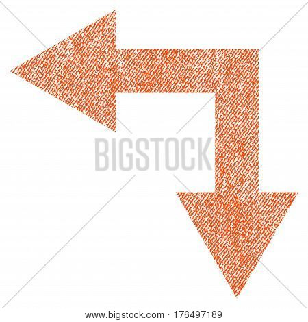 Bifurcation Arrow Left Down vector textured icon for overlay watermark stamps. Fabric orange vectorized texture. Symbol with dust design. Rubber seal stamp with fiber textile structure.