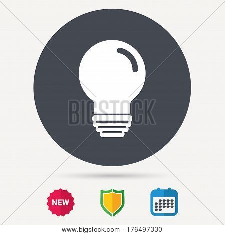 Light bulb icon. Lamp sign. Illumination technology symbol. Calendar, shield protection and new tag signs. Colored flat web icons. Vector