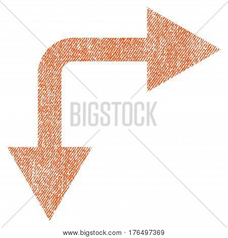 Bifurcation Arrow Right Down vector textured icon for overlay watermark stamps. Fabric orange vectorized texture. Symbol with dust design. Rubber seal stamp with fiber textile structure.