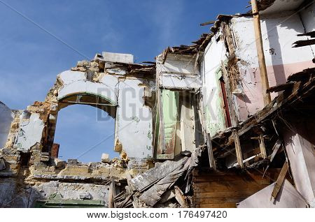 Abandoned ruined medieval building with blue sky, Odessa, Ukraine