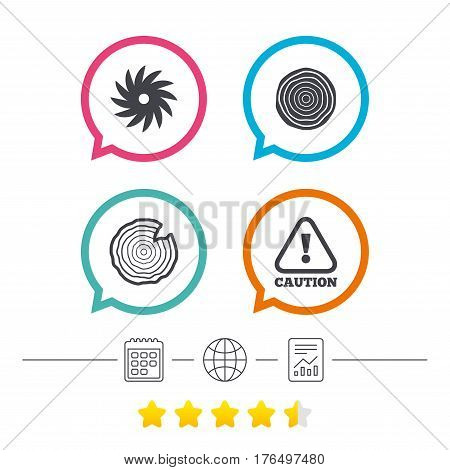 Wood and saw circular wheel icons. Attention caution symbol. Sawmill or woodworking factory signs. Calendar, internet globe and report linear icons. Star vote ranking. Vector