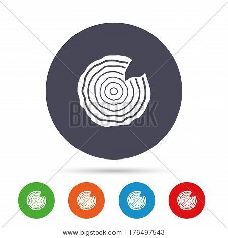 Wood sign icon. Tree growth rings. Tree trunk cross-section with nick. Round colourful buttons with flat icons. Vector poster