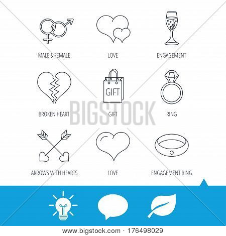 Love heart, gift box and wedding ring icons. Broken heart and engagement linear signs. Valentine amour arrows, brilliant flat line icons. Light bulb, speech bubble and leaf web icons. Vector