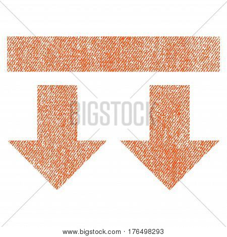 Bring Down vector textured icon for overlay watermark stamps. Fabric orange vectorized texture. Symbol with dirty design. Rubber seal stamp with fiber textile structure.