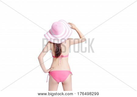 beauty woman wear bikini and arms akimbo with isolated white background asian