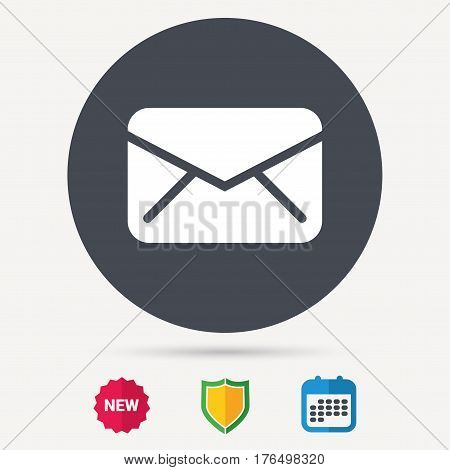 Envelope icon. Send email message sign. Internet mailing symbol. Calendar, shield protection and new tag signs. Colored flat web icons. Vector