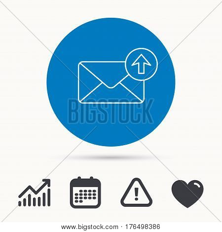 Mail outbox icon. Email message sign. Upload arrow symbol. Calendar, attention sign and growth chart. Button with web icon. Vector