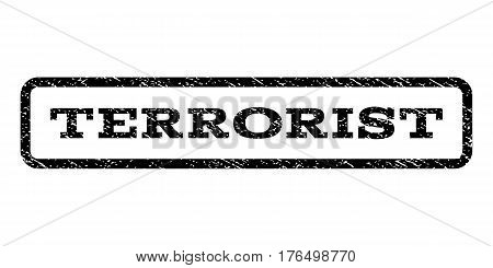 Terrorist watermark stamp. Text caption inside rounded rectangle frame with grunge design style. Rubber seal stamp with scratched texture. Vector black ink imprint on a white background.