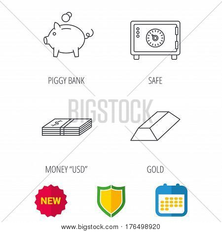 Piggy bank, cash money and safe icons. Gold bar linear sign. Shield protection, calendar and new tag web icons. Vector